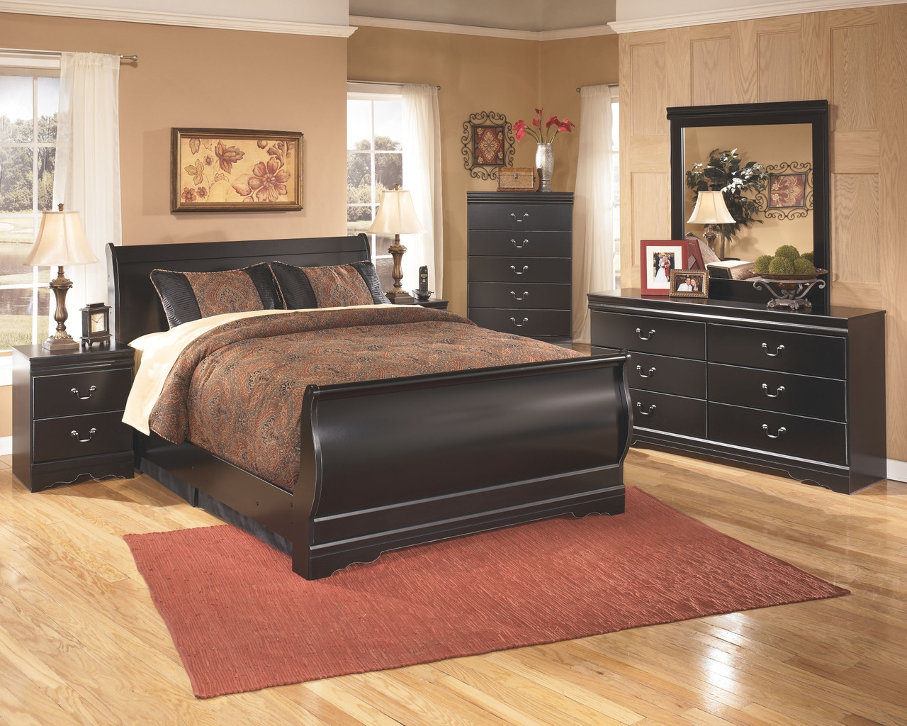 Huey Vineyard Black 4 Pc Dresser Mirror Sleigh Bed Nightstand Sold At Bolin Rental Serving Clarksville Tn And Madisonville And Hopkinsville Ky