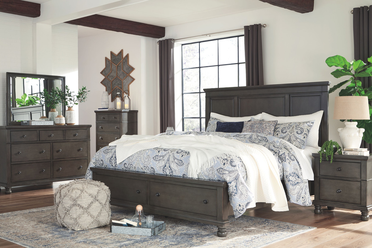 Devensted Dark Gray Dresser Mirror Panel Storage Bed Nightstand Sold At Bolin Rental Serving Clarksville Tn And Madisonville And Hopkinsville Ky