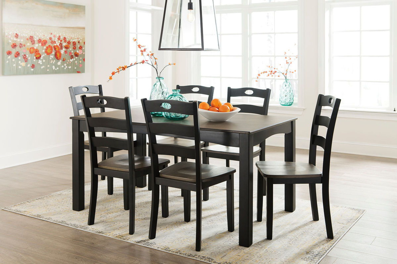 Tremendous Froshburg Grayish Brown Black Dining Room Table Set 7 Cn Caraccident5 Cool Chair Designs And Ideas Caraccident5Info