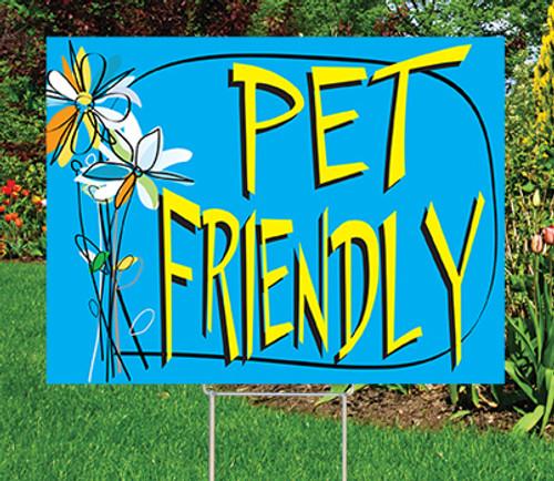 "PET FRIENDLY - 18"" x 24"" Sign - Watercolor Floral Theme"