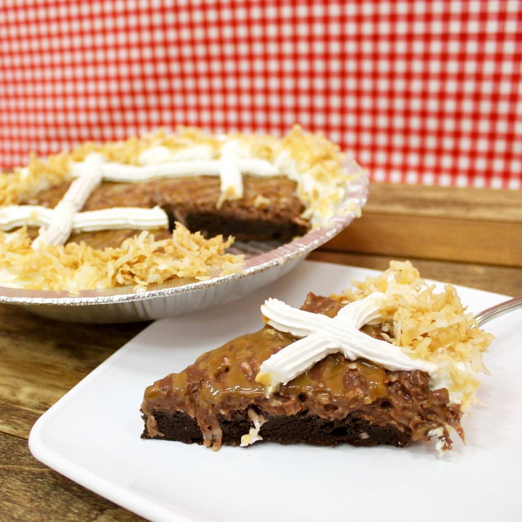 Chocolate Caramel Coconut Cake Pie