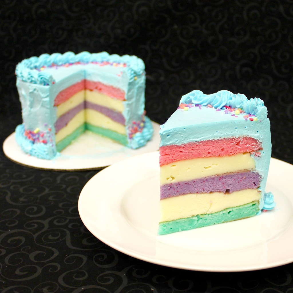 """A look at the inside of our """"Unicorn"""" cake flavor."""