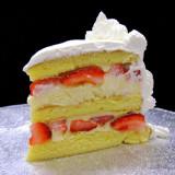 STRAWBERRY FRENCH VANILLA: moist layers of Yellow cake filled with French Vanilla custard layered with fresh sliced strawberries. Add $4.  STRAWBERRY RUM: our top-seller! Moist layers of Yellow cake filled with non-alcoholic Rum custard layered with fresh sliced strawberries. Add $4.