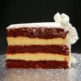 RED VELVET: moist layers of Red Velvet cake filled with creamy French Vanilla custard. RUM VELVET: moist layers of Red Velvet cake filled with non-alcoholic Rum custard.