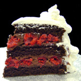RASPBERRY CHOCOLATE: moist layers of Chocolate cake filled with creamy Chocolate custard layered with fresh Raspberries. Add $4.