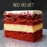 Southern style Red Velvet cake made with cocoa, filled with creamy French Vanilla custard, frosted with Lisa's signature Italian whipped cream.