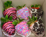 Fancy Assortment: 2 each of Dark Chocolate, Unicorn, and Cookies & Cream Strawberries.
