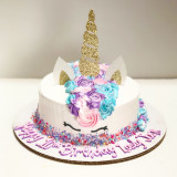 Pink/Purple/Blue mane with optional Unicorn sprinkles around bottom and writing on the board.