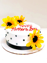 Black polka dots and black ribbon trim around cake.
