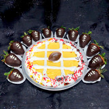 Cake Pie decor: sprinkles depicting team colors with a non-edible football figurine in the center.