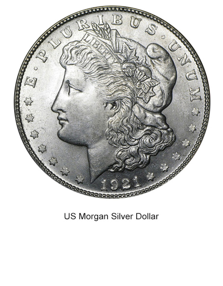 1921 BRILLIANT UNCIRCULATED MORGAN SILVER DOLLAR