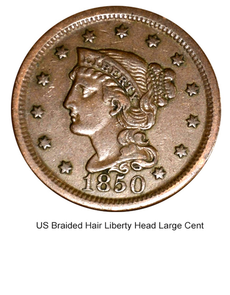 US Braided Hair Liberty Head Large Cent in Fine Condition (Dates Of Our Choice)