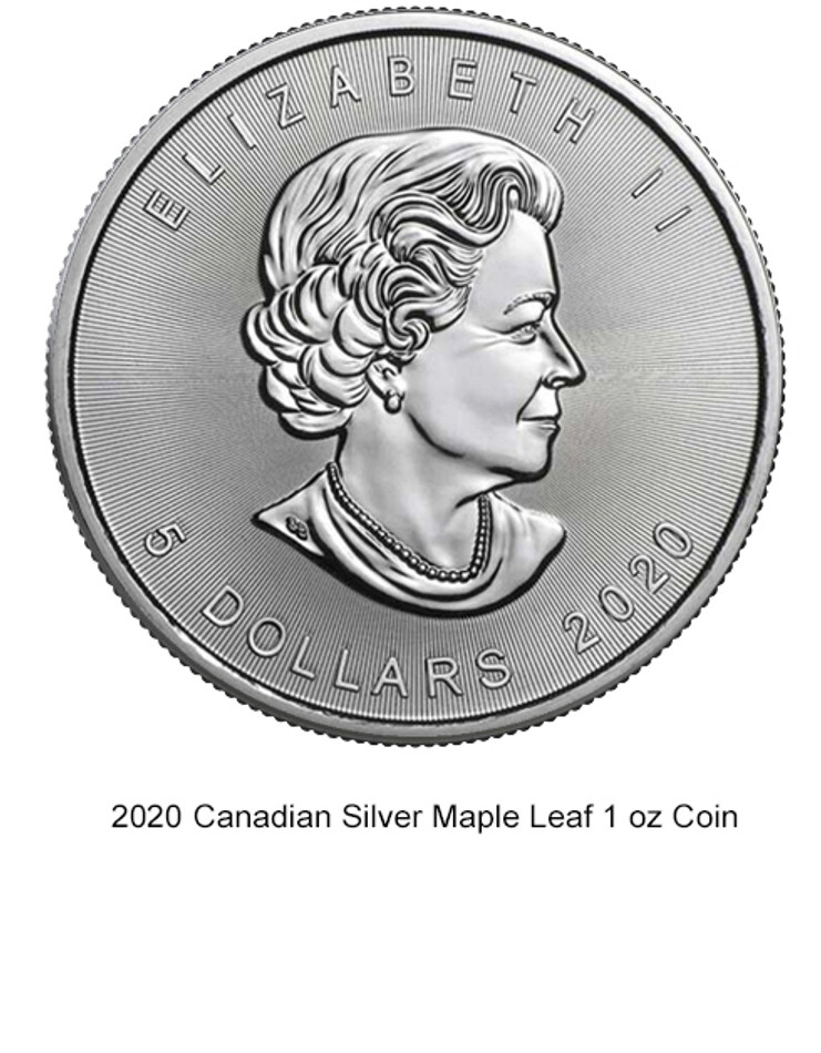 2020 Canadian 1oz. Silver Maple Leaf.