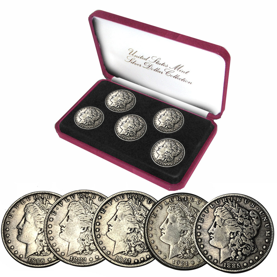 Morgan Silver Dollar Five Coin Set