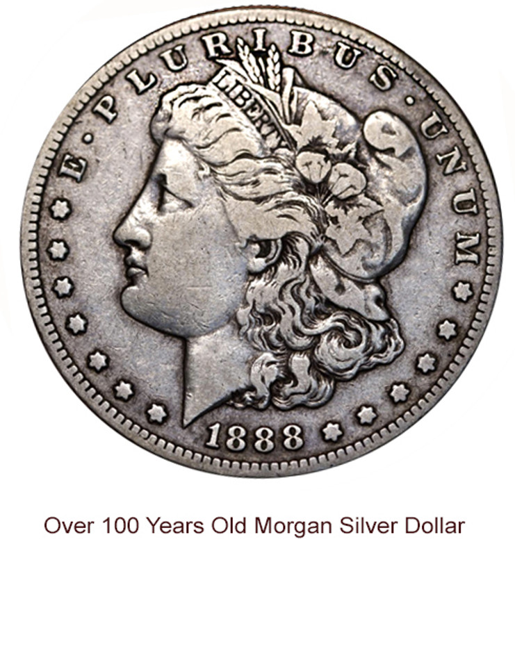OVER 100 YEARS OLD MORGAN SILVER DOLLAR IN VERY FINE CONDITION