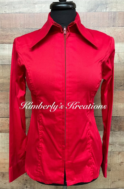 Red Solid Fitted Show Shirt - Ladies Size XS through 2X
