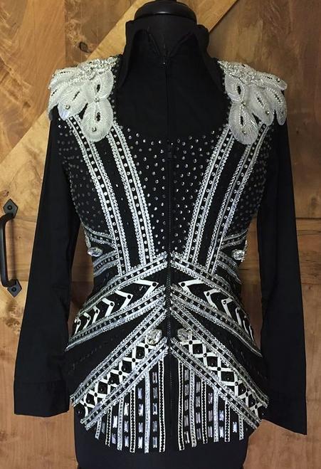 Black, White and Silver Show Vest - Ladies Size Medium
