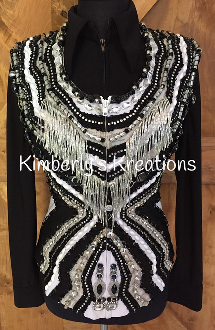 Black, White and Silver Show Vest - Ladies Size Small/Medium