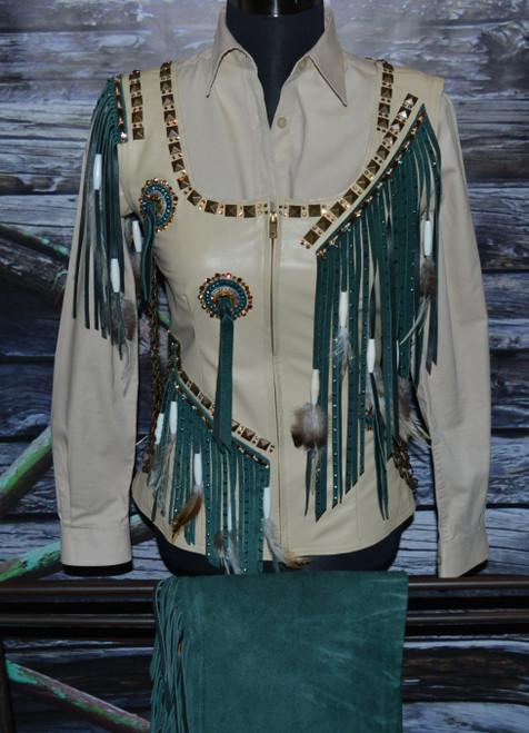 Cream, Copper and Teal Vest, Shirt and Chaps Set