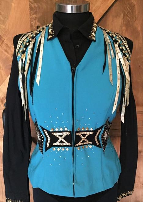Light Turquoise, Gold and Black Show Vest Set - Ladies Size Large