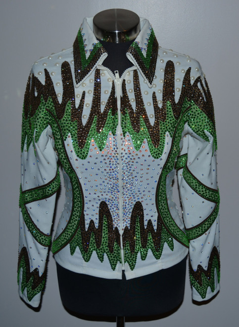 Cream, Lime Green and Chocolate Brown Show Jacket - Ladies Size Small