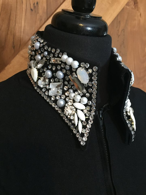Black Fitted Shirt with Blinged Collar by A Winning Investment - Ladies Size 10 (Bust 37 to 40 with stretch)