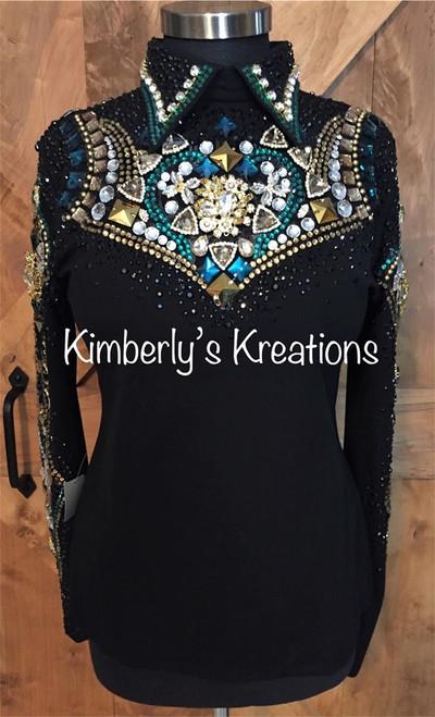 Black, Teal and Gold Horsemanship Shirt - Ladies Size Medium/Large