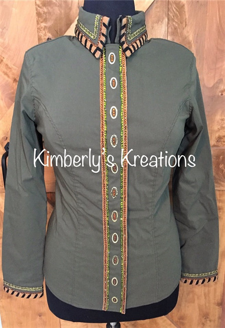 Olive Green, Tan, Copper and Black All Day Show Shirt - Ladies Size Extra Large