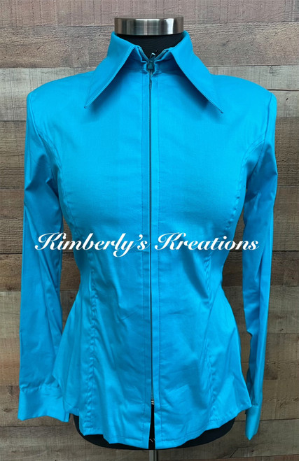 Light Turquoise Solid Fitted Show Shirt MADE IN THE USA - Ladies Size XS to 1X