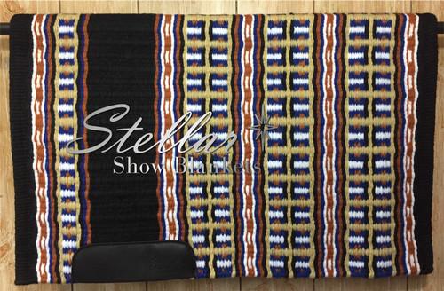 Black, Royal Blue, White, Rust and Seductive Honey Stellar Show Blanket - 34 X 43