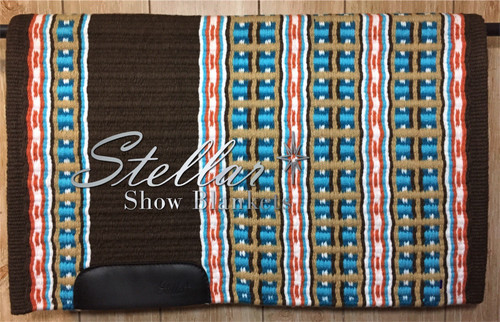 Brown, Tangerine, White, Sheepskin, Turquoise and Teal Stellar Show Blanket - 34 X 43