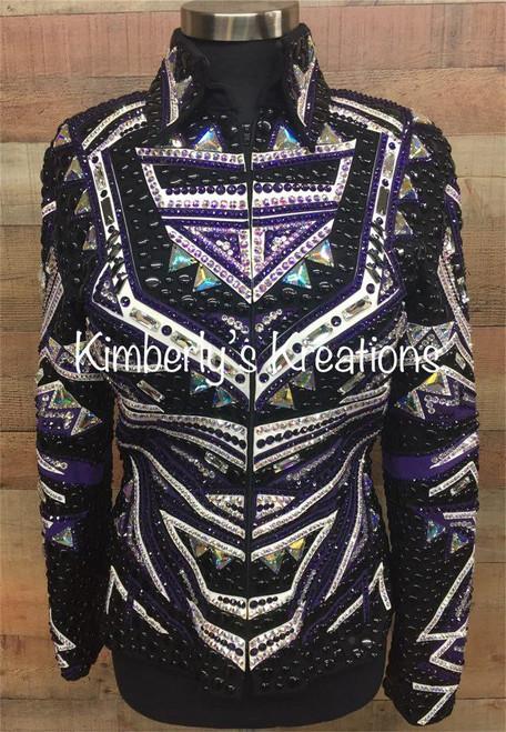 Black, Purple and White *LIKE NEW* Show Jacket - Ladies Size Medium