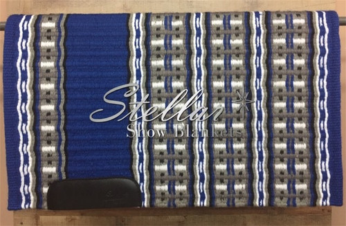 Royal Blue, Black, White, Charcoal and Gray Stellar Show Blanket - 34 X 43