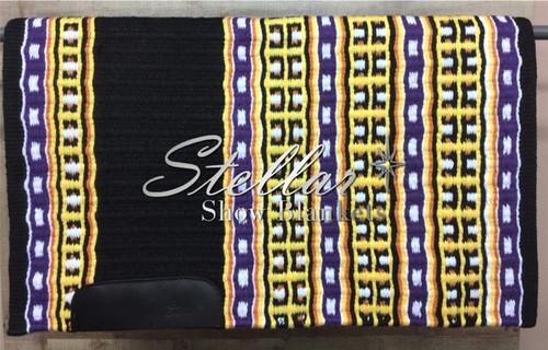 Black, Yellow, Purple, Tangerine and White Stellar Show Blanket - 34 X 43