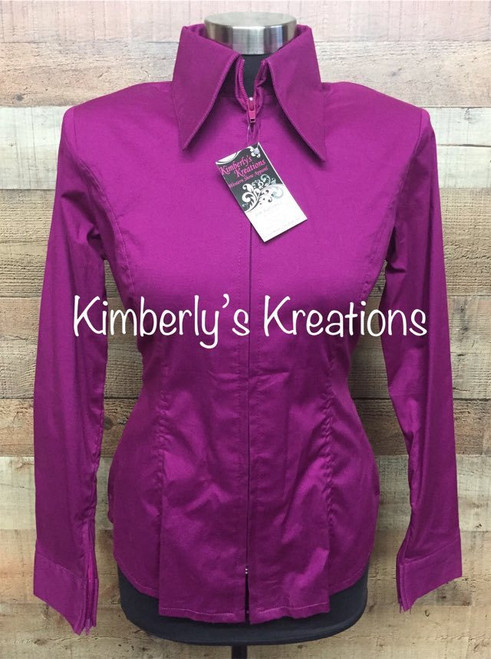Raspberry Solid Fitted Show Shirt MADE IN THE USA - Ladies Size XS to 1X