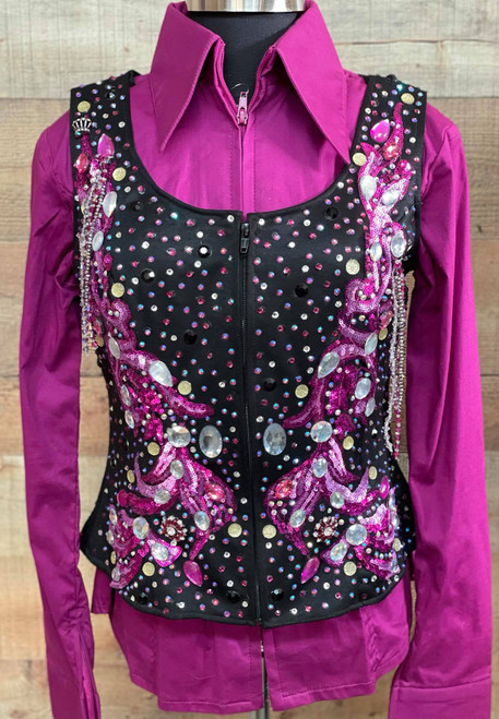 NEW - Never Worn Black and Fuchsia Youth Show Vest - Extra Large