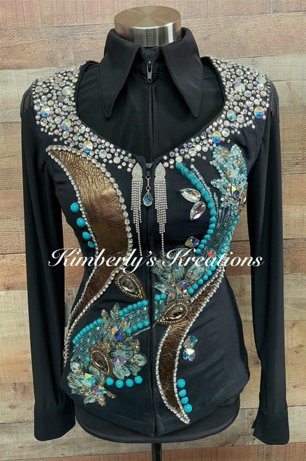 Black, Turquoise and Bronze Show Vest - Ladies Size Extra Small/Small