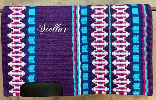 Purple, Light Turquoise, Hot Pink, Royal and White Show Blanket - 34 X 43