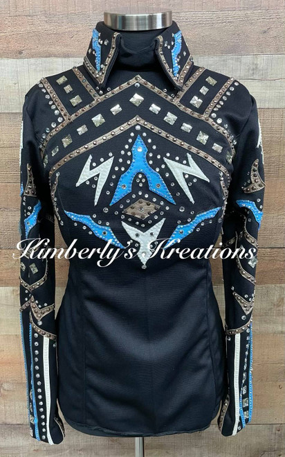 Black, Blue and Tan Horsemanship Shirt - Ladies Size Small/Medium
