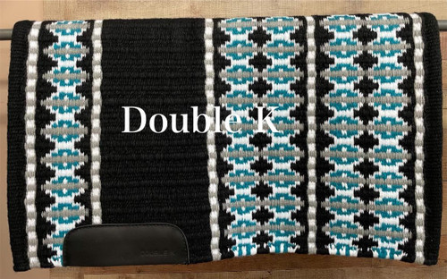 Black, Turquoise, White and Gray Double K Show Blanket