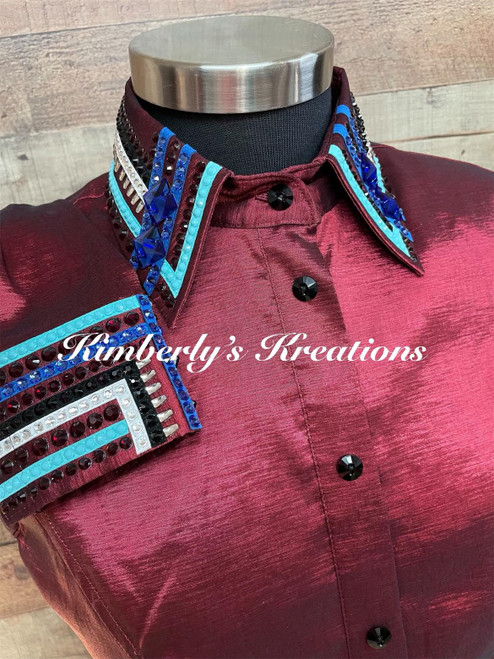 Burgundy, Turquoise, Royal, White, and Black All Day Show Shirt - Ladies Size Large