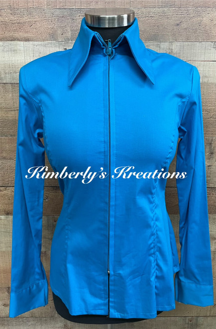 Dark Turquoise Solid Fitted Show Shirt MADE IN THE USA - Ladies Size XS to 1X