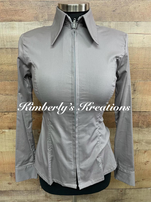 Medium Gray Solid Fitted Show Shirt MADE IN THE USA Ladies Size XS to 1X
