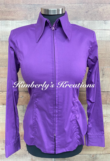 Light Purple Solid Fitted Show Shirt MADE IN THE USA - Ladies Sizes Extra Small to Extra Large