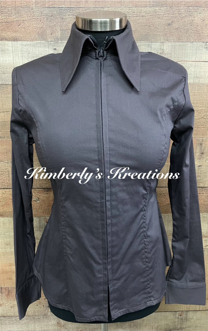 Charcoal Solid Fitted Show Shirt MADE IN THE USA - Ladies Sizes Small and Medium