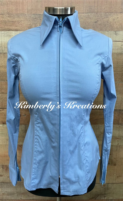 French Blue Solid Fitted Show Shirt MADE IN THE USA - Ladies Sizes Small through 1X