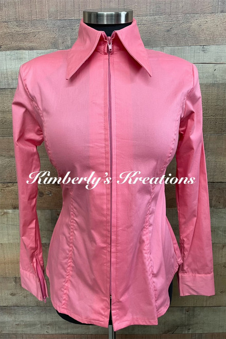 Coral Solid Fitted Show Shirt MADE IN THE USA -  Ladies Sizes Small through Large