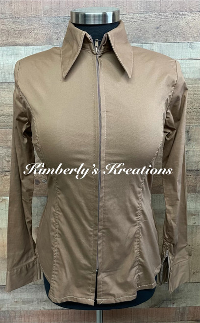 Mocha Tan Solid Fitted Show Shirt MADE IN THE USA - Ladies Sizes Extra Small through Extra Large