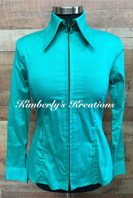 Jade Solid Fitted Show Shirt MADE IN THE USA - Ladies Sizes Small through Large