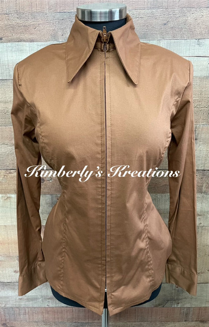 Caramel Solid Fitted Show Shirt MADE IN THE USA -  Ladies Sizes Small through 1X